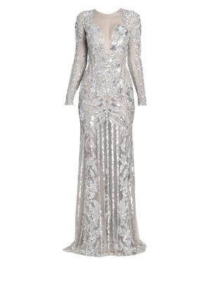 Zuhair Murad Oceania Sequin Sheer Gown