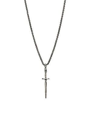 a17a94fb1df John Varvatos - Skulls   Daggers Sterling Silver   Black Diamond Skull  Necklace