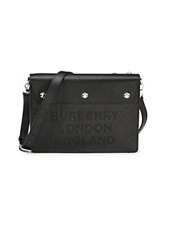 e4adf58546 Burberry. Embossed Grained Leather Messenger Bag