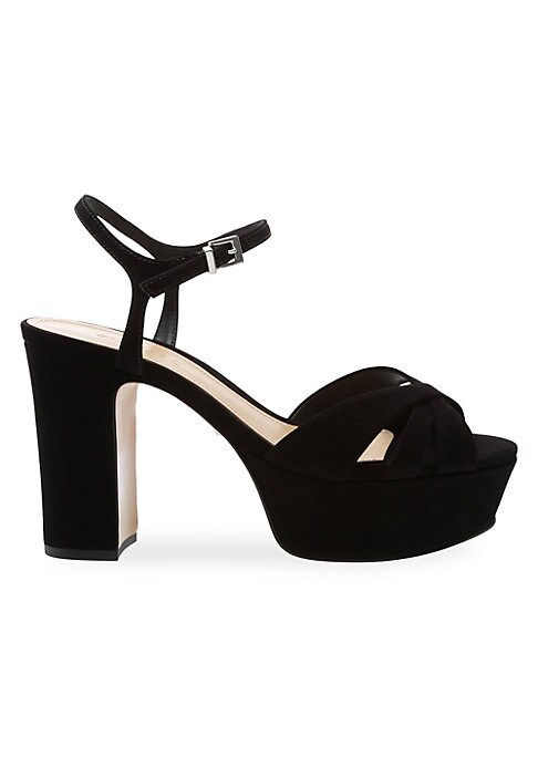 A bold platform and strappy crisscross finish in ultra-soft suede make these the perfect party shoes. Leather upper Peep toe Adjustable ankle strap Crisscross straps Leather lining Leather sole Dust bag included Imported SIZE Self-covered block heel, 4.25\