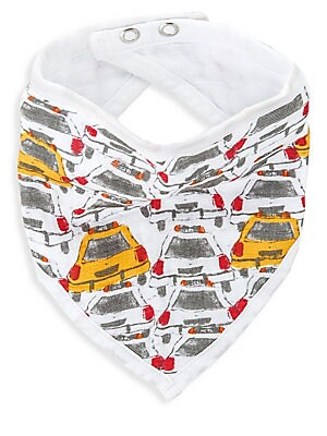 "Image of City Living print baby bib in soft muslin fabric. Double snap closure Pre-washed 16""W x 8.5""L Cotton Machine wash Imported. Children's Wear - Layette Apparel And Acce. aden + anais. Color: City Living."