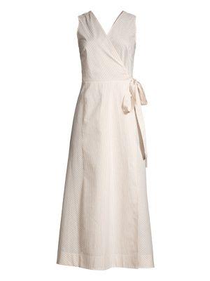 Lafayette 148 Dresses Siri Sonata Stripe Wrap Dress