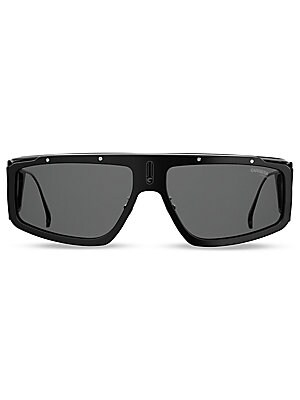 Image of Experimental silhouette gives these sunglasses a modern feel. 100% UV protection Solid lenses Adjustable nose pads Case and cleaning cloth included Plastic/metal Imported SIZE 62mm lens width 15mm bridge width 130mm temple length. Men Accessories - Men Su