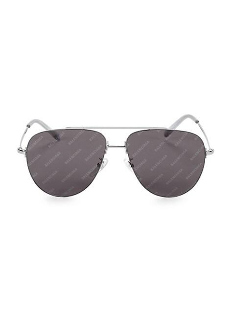 59MM Silvertone Aviator Sunglasses