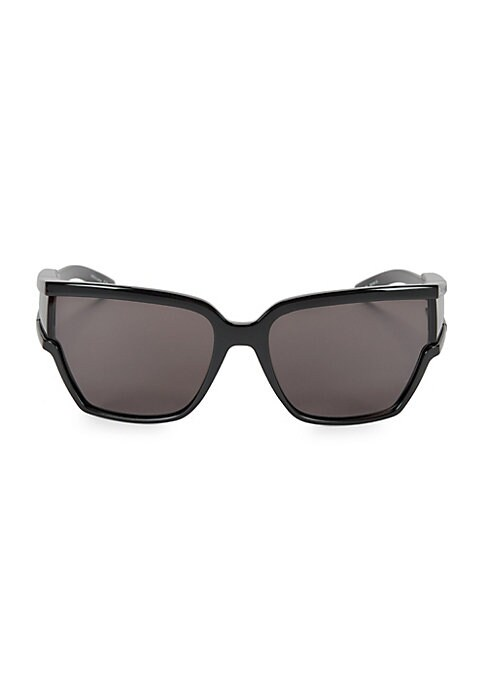 Bold square style with a unique lens design that continues through to the arm. 100% UV protection Case and cleaning cloth included Metal/acetate Imported SIZE 18mm lens width 63mm bridge width 115mm temple length. Soft Accessorie - Sunglasses > Balenciaga > Saks Fifth Avenue > Barneys. Balenciaga. Color: Black.