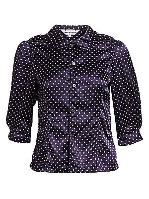Image of Made in sleek satin, this sweet three-quarter length puff sleeve blouse is adorned with polka-dots for a playful update on a timeless office wear piece. Peter Pan collar Three-quarter length puff sleeves Front button close Button cuffs Princess seams Sati