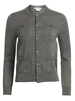 Image of A classic wardrobe essential, this marled wool cardigan is delicately buttoned and flaunts chest and waist patch pockets. Crewneck Long sleeves Front button close Chest button patch pockets Waist button patch pockets Ribbed trim Wool Dry clean Made in Jap