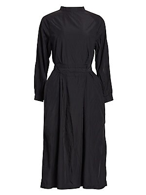 """Image of This contemporary midi length dress is belted at the waist and crafted from taffeta. Mockneck Long sleeves Back closure with self-tie bow Two hand pockets Polyester Dry clean Made in Japan SIZE & FIT About 46"""" from shoulder to hem Model shown is 5'10 (177"""
