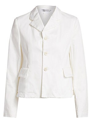 Image of Crafted in lightweight cotton poplin, this casual blazer is defined by its tailored cut and sweet, feminine lace lining. Notched collar Long sleeves Front three button close Waist flap pockets Lace lining Cotton/polyurethane/nylon Dry clean Made in Japan