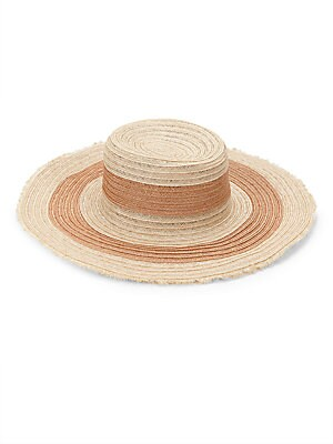 "Image of From the Raffaello Bettini Collection. Timeless wide brim woven straw hat with fringed trim. Wide brim Straw Spot clean Made in Italy SIZE Brim width, about 4.75"". Soft Accessorie - Millinery. Bettini. Color: Tan."