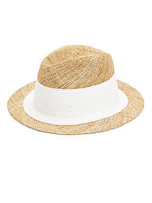 "Image of From the Raffaello Bettini Collection. Classic straw and paper fedora boasts contrast band. Straw/paper Spot clean Made in Italy SIZE Brim width, about 2.25"". Soft Accessorie - Millinery. Bettini. Color: Natural White."