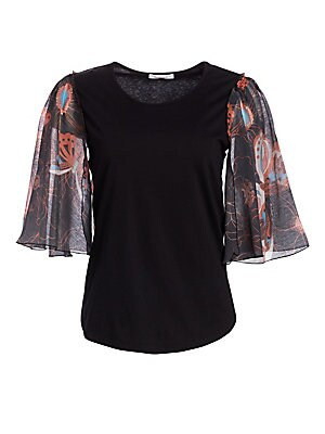 6d574c630b See by Chloé - Organza Sleeve Butterfly-Print Top