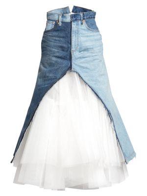 Junya Watanabe Tulle Denim Midi Skirt