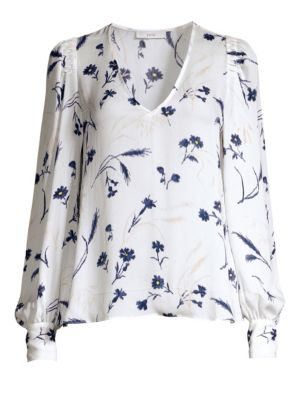 Joie Tops Yadra Silk Floral Popover Blouse