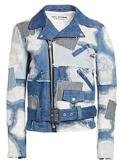 fc1b607128fa2 Product image. QUICK VIEW. Junya Watanabe. Patchwork Lace Denim Moto Jacket