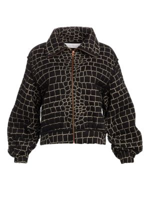 See By Chlo Patterned Cropped Bomber Jacket