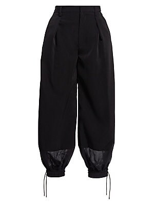 Image of A modern blend between work-wear and sports-wear, these tailored trousers fall to elasticized puffed drawstring cuffs for a contemporary look. Their lightweight georgette construction makes them an easy-to-wear piece sure to become a wardrobe staple. Belt
