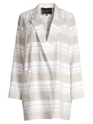 Lafayette 148 Jackets Malika Striped Linen-Blend Jacket