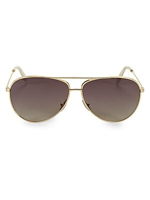 Image of Sharp, sleek sunglasses with a slim goldtone aviator frame. 100% UV protection Gradient lenses Case and cleaning cloth included Metal Made in Italy SIZE 61mm lens width 12mm bridge width 145mm temple length. Soft Accessorie - Sunglasses. Céline. Color: Go