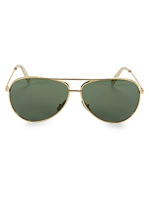 Image of Sleek goldtone aviator sunglasses with solid green lenses. 100% UV protection Solid lenses Case and cleaning cloth included Metal Made in Italy SIZE 61mm lens width 12mm bridge width 145mm temple length. Soft Accessorie - Sunglasses > Saks Fifth Avenue. C