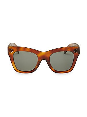 Image of Sleek cat eye sunglasses with tortoise frames. Polarized black lenses Case and cleaning cloth included Acetate Made in Italy SIZE 50mm lens width 12mm bridge width 150mm temple length. Soft Accessorie - Sunglasses > Saks Fifth Avenue. CELINE. Color: Brown