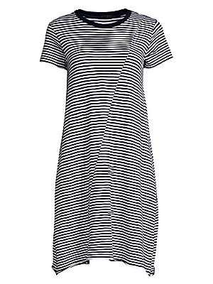 """Image of A diagonal cut-and-sew line reaches from the shouder to the hem, adding personality to this striped dress. Crewneck Short sleeves Pullover style Curved hem Cotton/polyester Hand wash Made in Peru SIZE & FIT Relaxed silhouette About 36.5"""" from shoulder to"""