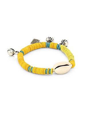 "Image of Conch shell centers bracelet with colorful beads. Silverplated brass Vinyl Glass Slip-on style Imported SIZE Diameter, about 2""-4"". Fashion Jewelry - Trend Jewelry > Saks Fifth Avenue. Dannijo. Color: Yellow."