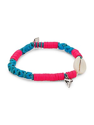 "Image of Beachy beaded bracelet accented with shells and silvertone charms. Glass Vinyl Cotton Silverplated oxidized brass Imported SIZE Diameter, about 2.5"". Fashion Jewelry - Trend Jewelry > Saks Fifth Avenue. Dannijo. Color: Pink."