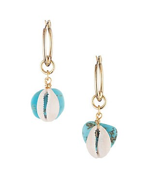 "Image of Eye catching shell design earrings adorned with turquoise and goldtone. Brass plated gold Turquoise Push lock Imported SIZE Total length, about 2"". Fashion Jewelry - Trend Jewelry > Saks Fifth Avenue. Dannijo. Color: Turquoise."