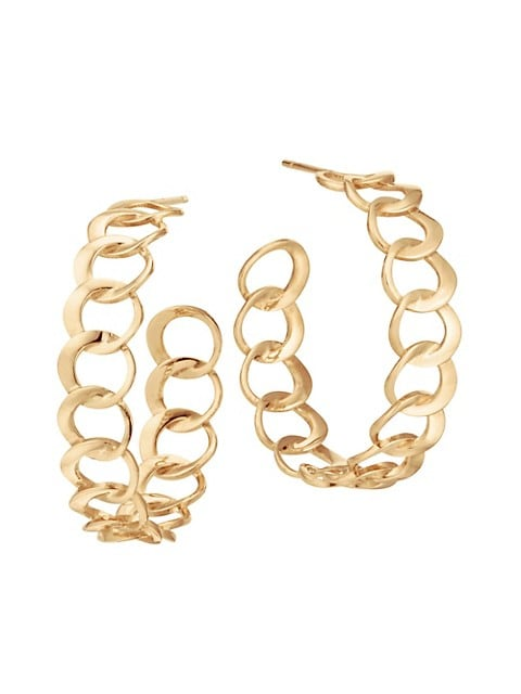 14K Yellow Gold Bond Link Hoop Earrings