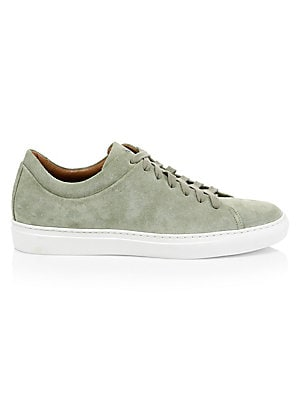 Image of Handsome suede sneakers with a low-top silhouette. Suede upper Leather lining Padded insole Rubber sole Weatherproof technology Includes dust bag Includes authenticity card Made in Italy. Men's Shoes - Mens Classic Footwear. Aquatalia. Color: Sage. Size: