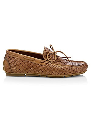 Image of Add rich texture to any ensemble with these basket woven loafers. Leather upper Leather lining Rubber sole Weatherproof technology Includes dust bag Includes authenticity card Made in Italy. Men's Shoes - Mens Classic Footwear. Aquatalia. Color: Cognac. S