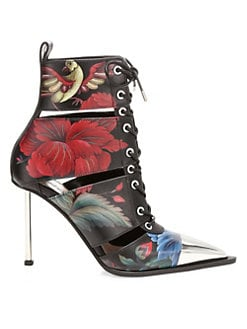 b85cb1fcf0c QUICK VIEW. Alexander McQueen. Mid-Heel Painted Leather Cap-Toe Booties