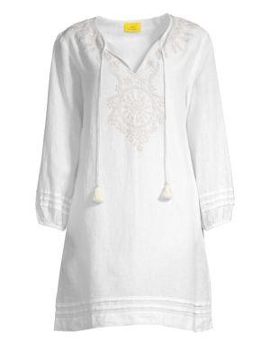 Roller Rabbit Sora Embroidered Linen Coverup Dress