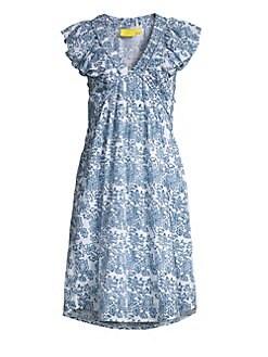 Roller Rabbit. Flora Olga Cotton V-Neck Coverup Dress 7f2d8bb36185
