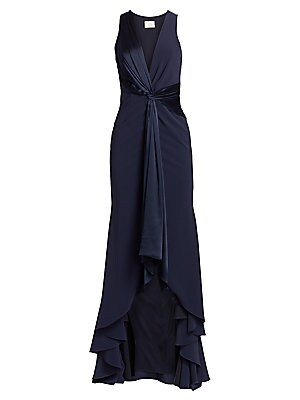 "Image of A dramatic satin twist-knot defines this elegant high-low gown finished with a cascading back. Plunging neck Sleeveless Twist front High-low hem Lined Triacetate/polyester Dry clean Imported SIZE & FIT Flare silhouette About 63"" from shoulder to hem Model"