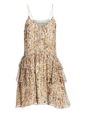 Iro Buzon Silk Leopard Flare Dress