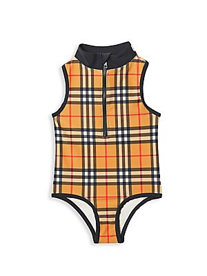 Image of A bright plaid print distinguishes this cute one-piece finished with a sporty logo-detailed stand collar. Mockneck Partial front zip Sleeveless Piping trim Nylon/elastane Hand wash Imported. Children's Wear - Burberry Kids. Burberry. Color: Antique Yellow