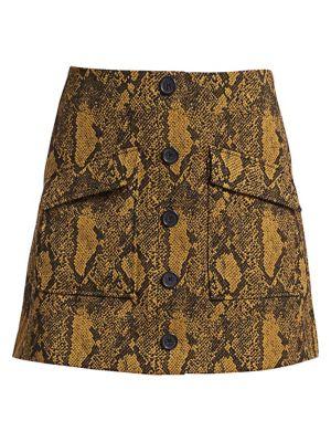Joie Skirts Tabina Snakeskin Mini Skirt