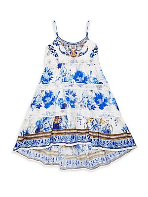 Image of A bejeweled floral print lends a vintage look to this breezy flare dress styled with lace accents. Scoopneck Sleeveless Spaghetti straps Scalloped lace trim High-low hem Cotton Hand wash Imported. Children's Wear - Classic Children. Camilla. Color: Saint