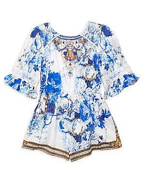 Image of A bejeweled floral print lends a vintage look to this breezy romper styled with lace accents. Scoopneck Smocked shoulders Three-quarter sleeves Ruffle cuffs Elasticized hem Cotton Hand wash Imported. Children's Wear - Classic Children. Camilla. Color: Sai