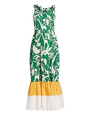 "Image of A bold palm-print defines this vacation-ready midi styled with feminine shoulder ties. Roundneck Sleeveless Shoulder ties Concealed back zip Ruffled colorblock hem Cotton Dry clean Made in UK SIZE & FIT About 52"" from shoulder to hem Model shown is 5'10"""