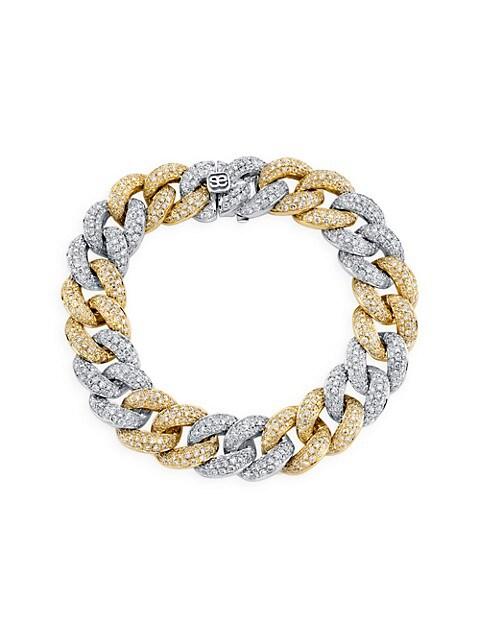 14K Yellow Gold, White Gold & Pavé Diamond Alternating Link Bracelet