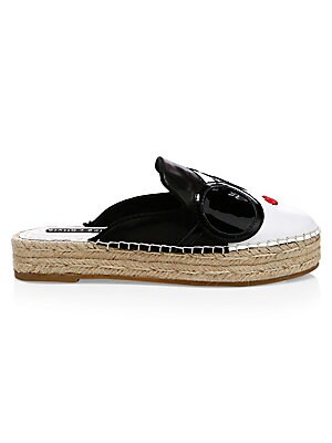 """Image of A sunglass-adorned face decorates the upper of these flatform espadrilles. Sheep leather, cow leather and polyester upper Round toe Slip-on style Sheep leather lining Rubber sole SIZE Flatform sole, 1.18"""" (30mm). Women's Shoes - Contemporary Womens Shoe."""
