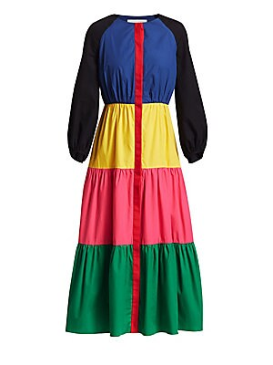 Image of Crisp cotton midi dress in a bold colorblock construction. Roundneck Three-quarter raglan sleeves Concealed button front Banded button cuffs Tiered skirt Cotton lining Cotton Dry clean Made in United Kingdom SIZE & FIT Fit-and-flare silhouette About 50.5""