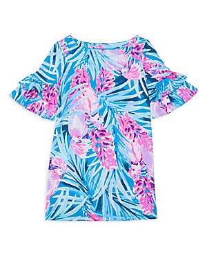 Little Girl's & Girl's Tropical Floral Ruffle Sleeve Dress by Lilly Pulitzer Kids