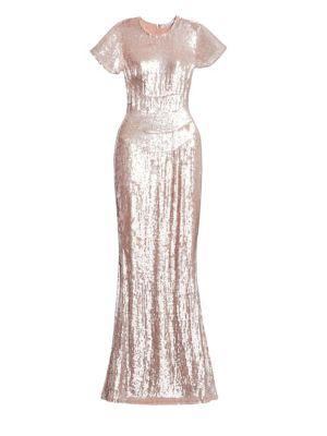 Rachel Gilbert Sequined Crinkle Georgette Gown
