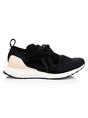 Image of A lightweight patchwork of neoprene and mesh adds futuristic appeal to these running shoes. Recycled polyester and elastane upper Round toe Drawcord vamp Rubber sole Imported. Women's Shoes - Sneakers. adidas by Stella McCartney. Color: Black. Size: 10.