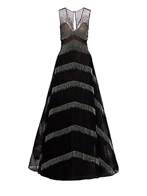 Delilah Metallic Fringe A Line Ball Gown by Ahluwalia