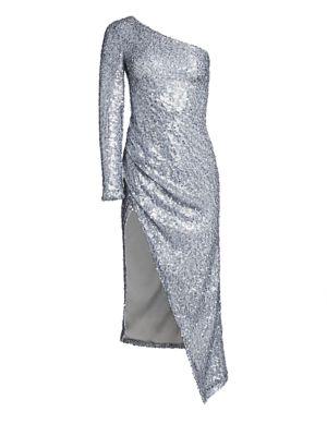 Galvan Dresses Pailette Mamounia One-Shoulder Dress